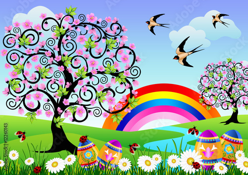 Spring landscape with Easter eggs, ladybugs and a rainbow