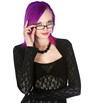 Cute Purple Haired Girl with Glasses