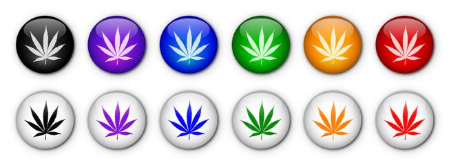 Cannabis Leaf Buttons (rainbow colours)