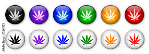 Cannabis Leaf Buttons (rainbow colours)