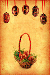 Grunge wallpaper with Easter basket