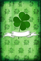 Grunge background with clover and blank