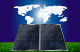 Solar cells under  world atlas clouds and grass poster