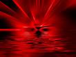 Rotes Inferno spiegelt sich im Wasser