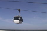 Cable car working against sky