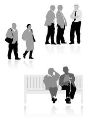 several senior  silhouettes,  vector illustration