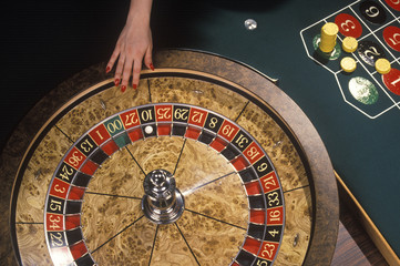 Spinning of the roulette wheel in a casino.