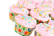 Pink Cupcakes on white with copy space