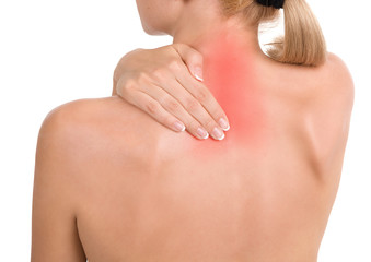 Woman holds a hand on pain neck