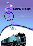 Abstract colored waved background with lorry. Vector