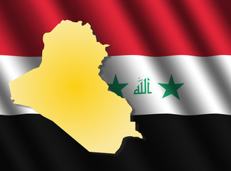 Iraq map on flag