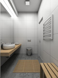 3D render modern interior of toilet