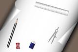 Stationery - pencil eraser sharpener ruler compass paper poster