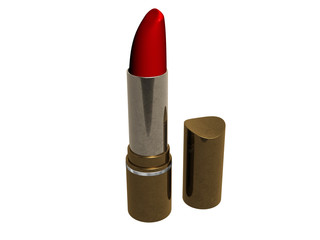 3d red lipstick isolated on white