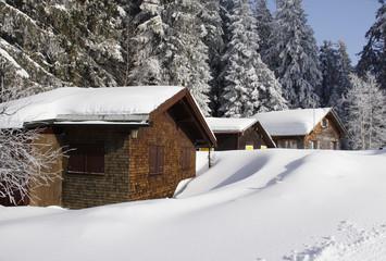 Ferienhaus in den verschneiten Alpen