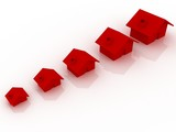3d render of five red houses