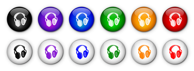 """Boutons """"Musique / Ecouteurs"""" (x12 - Multicolores)"""