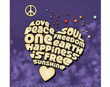 Groovy peace heart graphic poster