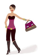 jeune femme brune avec un sac à main