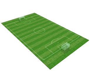 3d soccer field isolated on white background -3d rendering