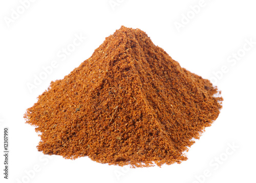 spices - pile of tandoori masala over white