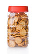 Jar of small appetizer crackers isolated on white