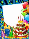 Happy birhday card with a chocolate cake and funny hats(blue)-