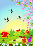 Easter background with chocolate eggs and flying swallows poster