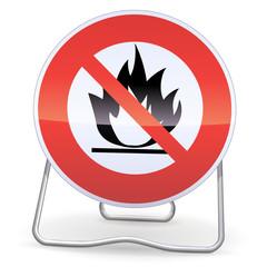 Panneau d'interdiction aux produits inflammables (ombre)