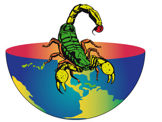 half of the earth with a big scorpion