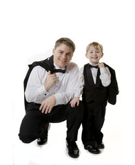 Man and Boy with Tuxedo Jackets Off