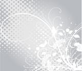 Fototapety floral grise argent et arabesques blanches