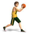Young man plays basketball
