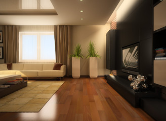 modern interior of a living room