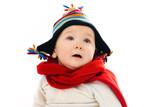 displeased baby wearing warm winter clothes poster