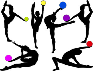 gymnastics girl with ball - vector