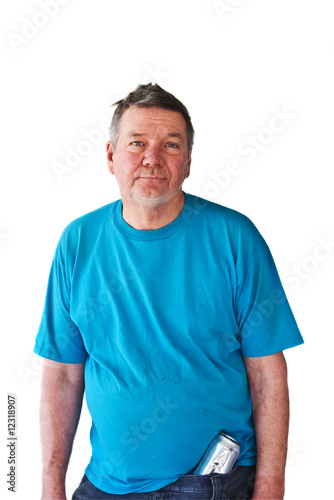 Distraught Mature Man with Beer Can