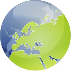 Map of Eurpe on globe  illustration