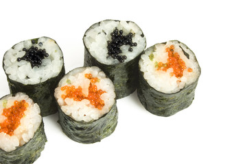sushi rolls with caviar and salmon