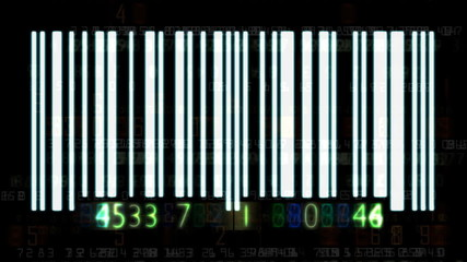 Barcode flashing and animated random numbers
