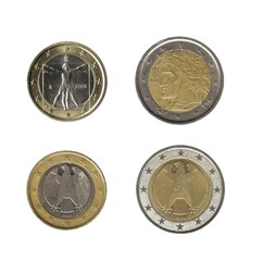 German and italian conis: 1, 2 euro