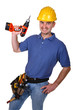 man young worker with drill