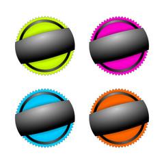 buttons d5 blanko neongrün pink hellblau orange