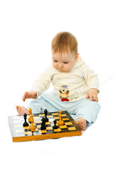 cute baby playing chess