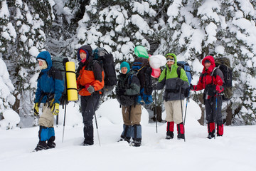 Hiker are in winter