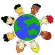 Multicultural Kid Faces United Around Earth