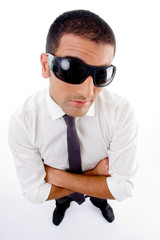high angle view of young professional with sunglasses looking at