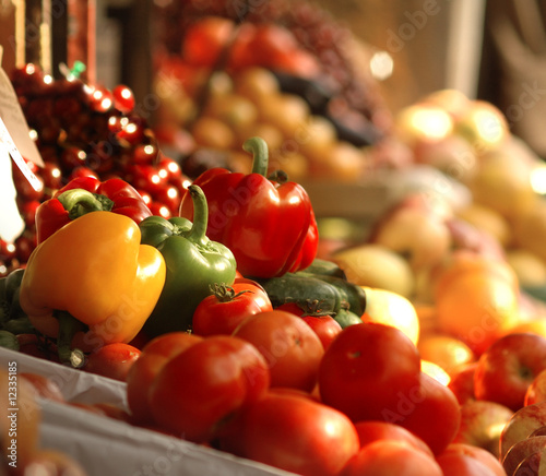 Fresh vegetables and fruits at the market