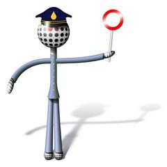 Omino in divisa e paletta - Poliziotto - Policeman