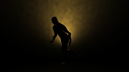 Silhouette of a slow motion runner